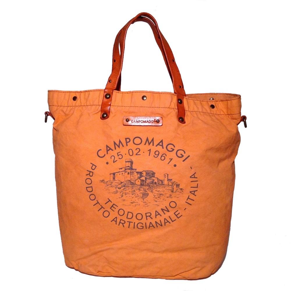 campomaggi shopper c3538 tbvltc arancio tasche aus canvas mit aufdruck ebay. Black Bedroom Furniture Sets. Home Design Ideas