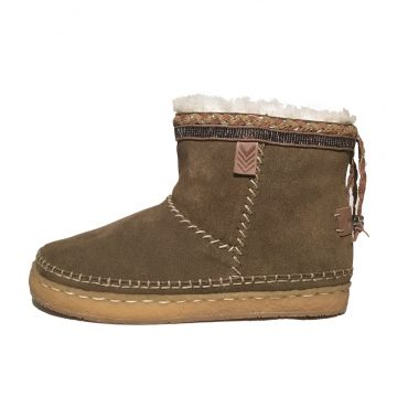 Laidback London Nyali Crepe Taupe Ankle Boots