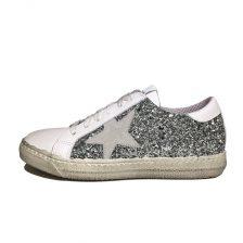 Meline Sneaker Glitter Argento Bianco