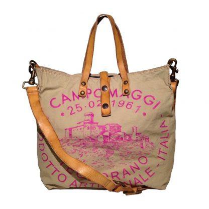 campomaggi, shopper, medium, canvas, beige, aufdruck, pink